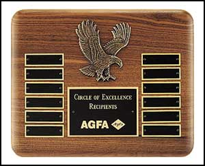"P2296,$117.00 American Eagle, 12 plate walnut perpetual plaque,10"" X 13"""