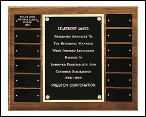 "#P2989, $108, Walnut 12 plate perpetual plaque,12"" X 15"""