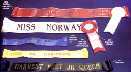 Pageant sashes,custom printed for the event.Quantity discounts.