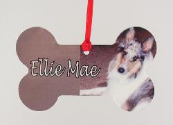 collie photo printed plastic dog bone ornament personalized with dog's name