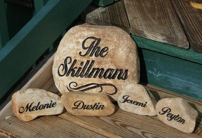 engraved family name stones engraved family welcome stones