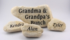 Decorate your porch with engraved welcome stones.
